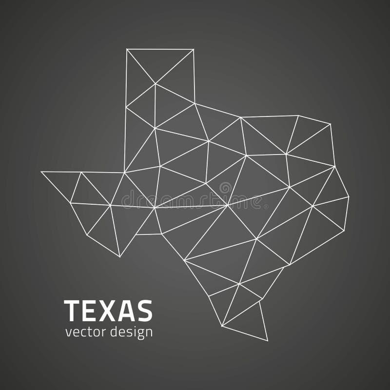 Carte d'ensemble de vecteur de mosaïque de triangle de noir du Texas illustration libre de droits