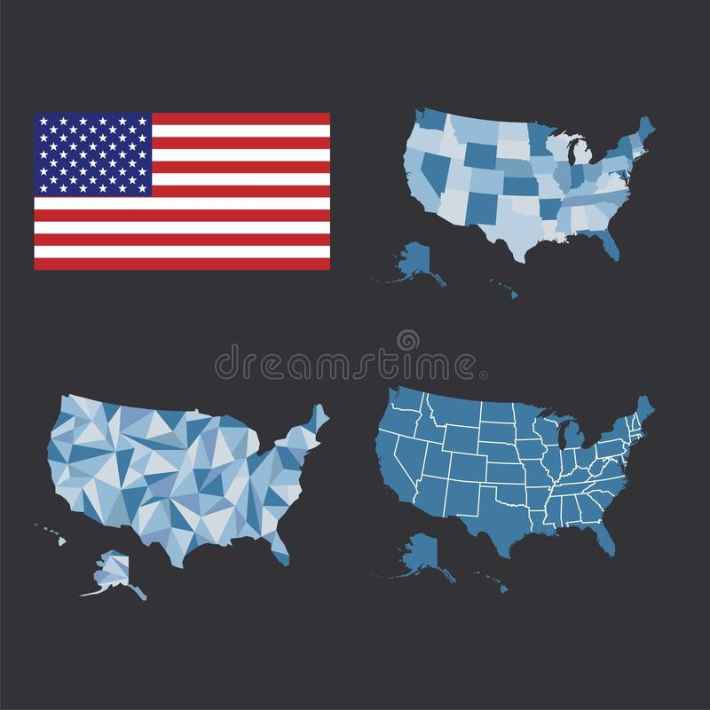 Carte d'ensemble des Etats-Unis d'Amérique États des Etats-Unis illustration de vecteur