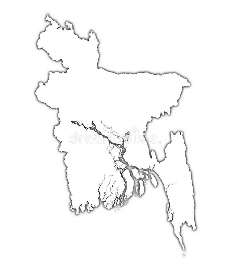 Carte d'ensemble du Bangladesh illustration stock