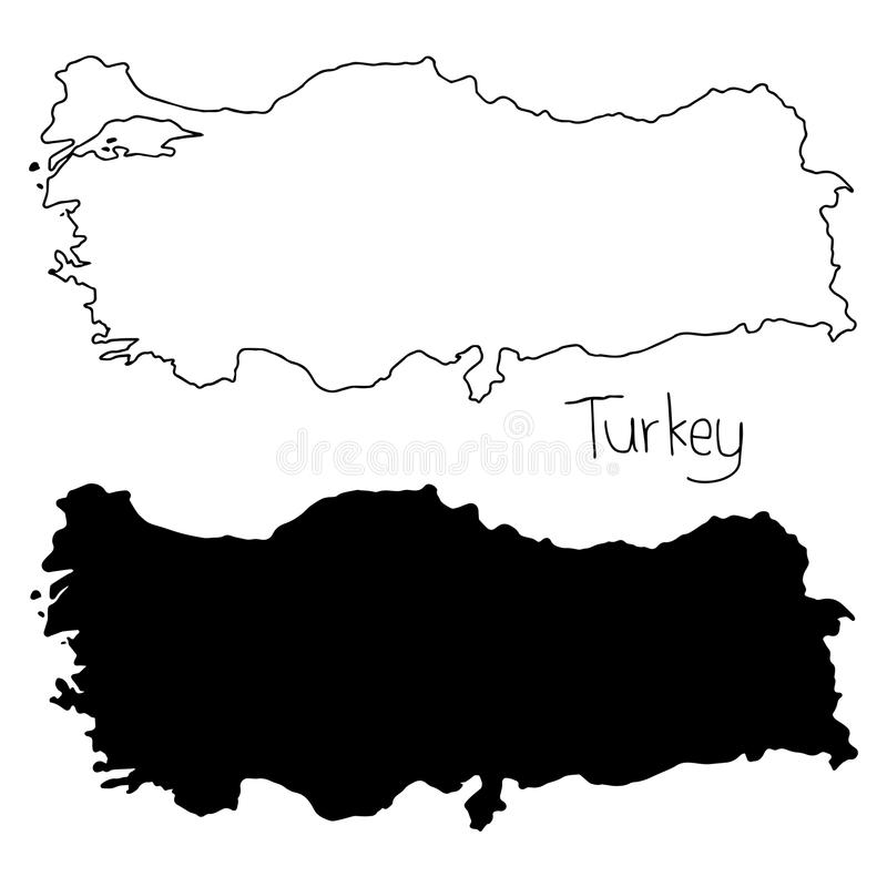 Carte d'ensemble et de silhouette de la Turquie - dirigez la main d'illustration illustration stock