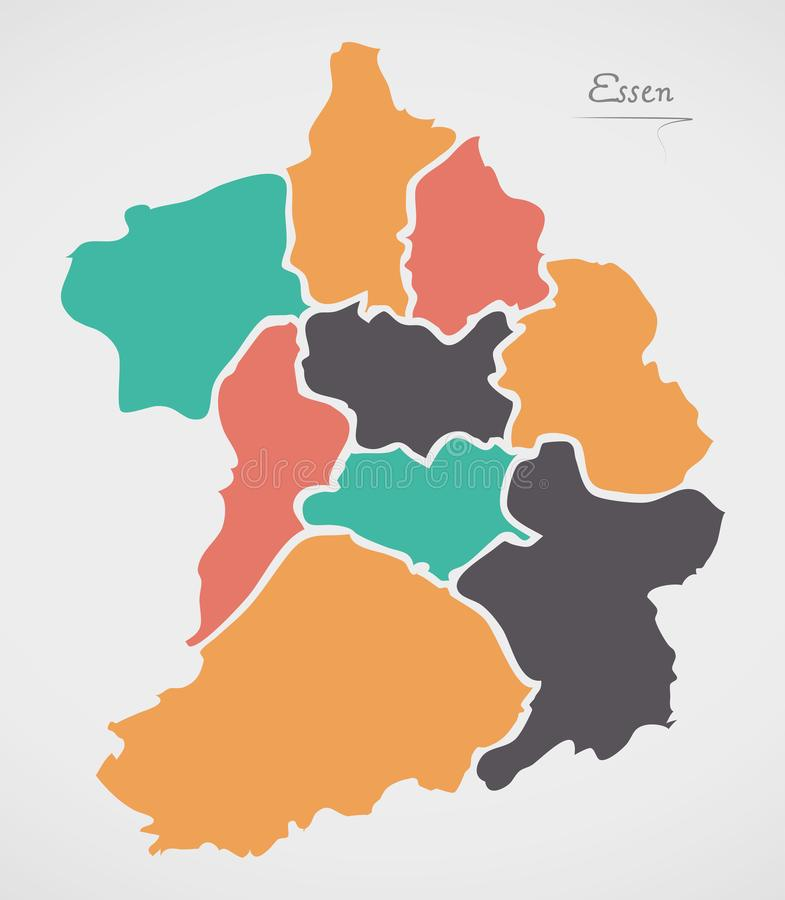 Carte d'Essen avec des villes et des formes rondes modernes illustration de vecteur