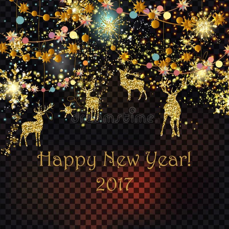 Carte d'or et argentée de Noël de scintillement de particules avec les cerfs communs, b illustration stock