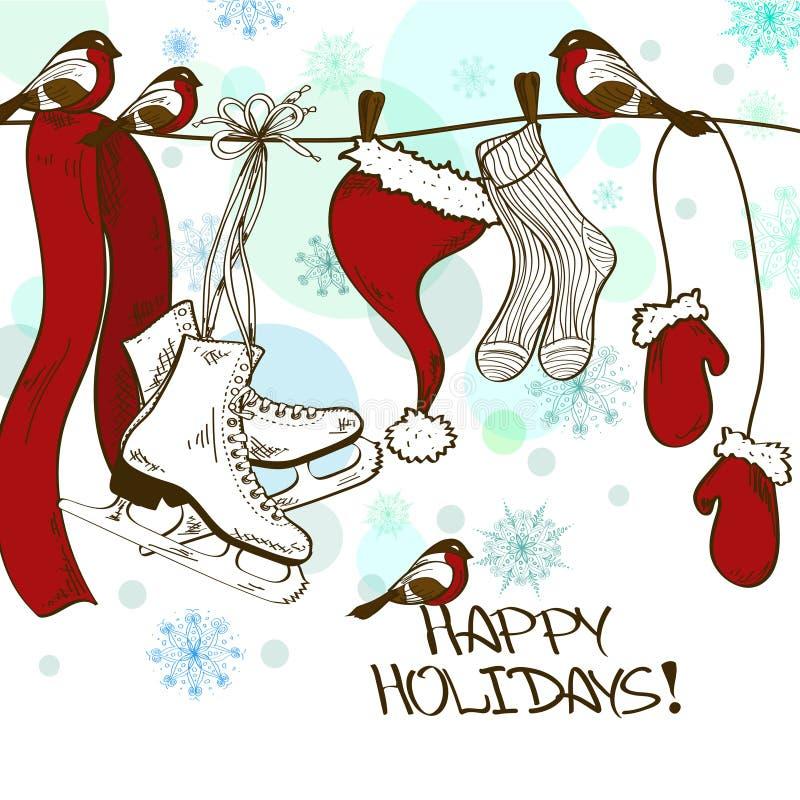 Carte d'hiver avec des patins et des vêtements de Santa illustration de vecteur