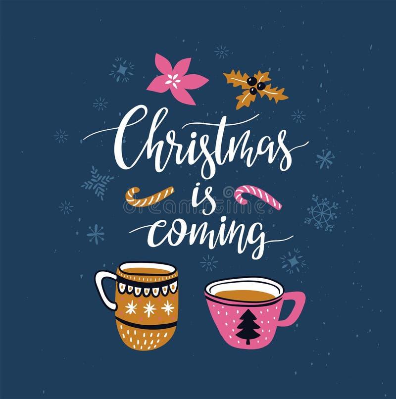 Carte d'hiver de vecteur avec des tasses de Noël de thé et de lettrage - l'hiver de ` est prochain ` d'isolement sur le fond bleu illustration de vecteur