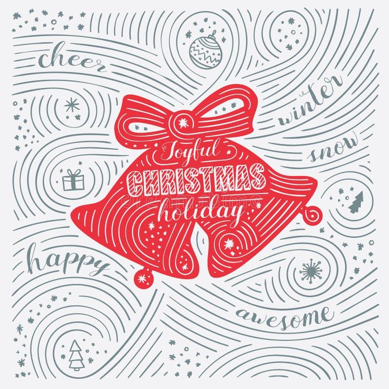 Carte d'hiver Le lettrage - vacances joyeuses de Noël Conception de nouvelle année/Noël illustration de vecteur