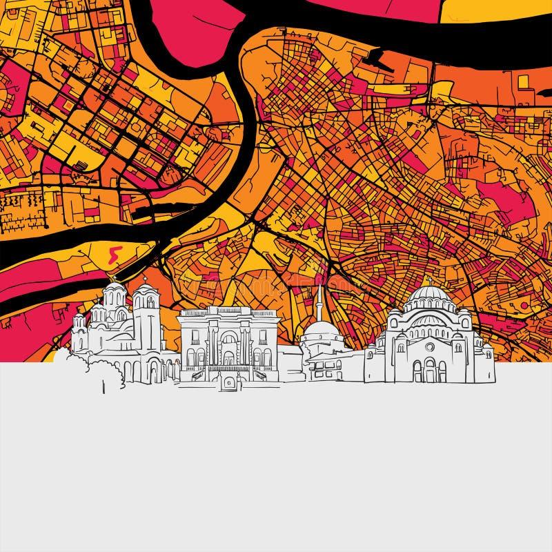 Carte d'horizon de Belgrade illustration libre de droits