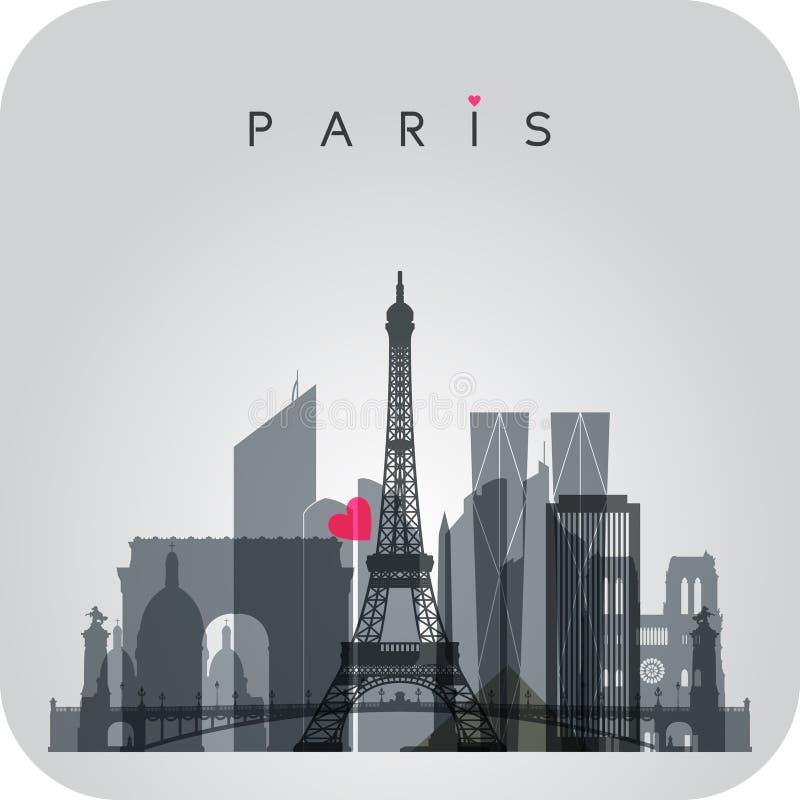 Carte d'horizon de Gray Paris illustration stock