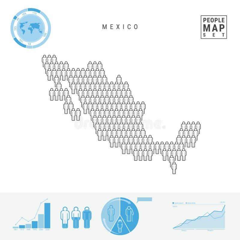 Carte d'icône de personnes du Mexique Silhouette stylisée de vecteur du Mexique Croissance démographique et vieillissement Infogr illustration stock