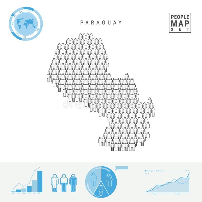 Carte d'icône de personnes du Paraguay Silhouette stylisée de vecteur du Paraguay Croissance démographique et vieillissement Info illustration de vecteur