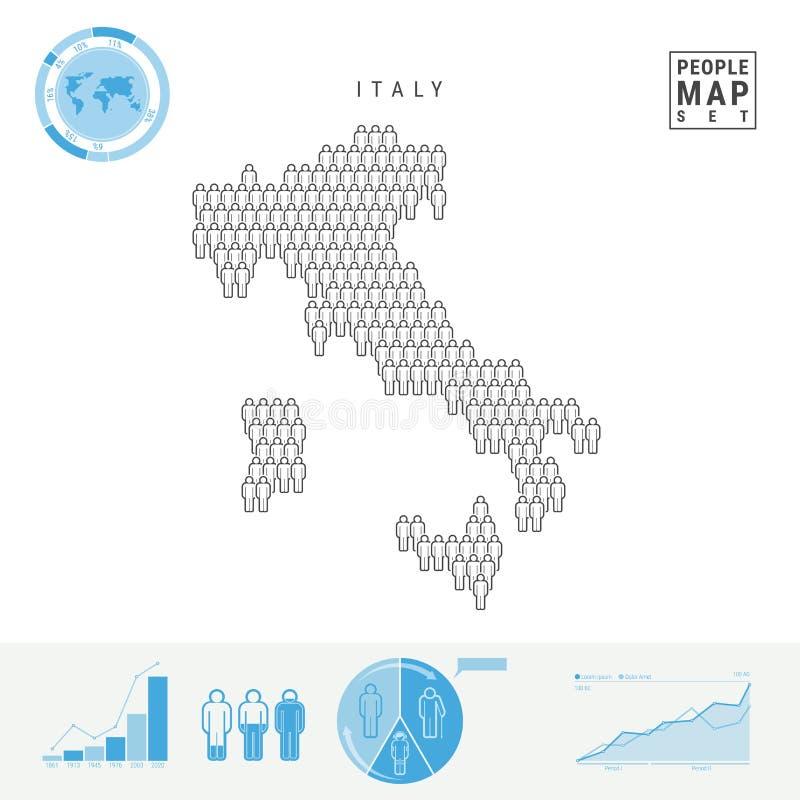 Carte d'icône de personnes de l'Italie Silhouette stylisée de vecteur de l'Italie Croissance démographique et vieillissement Info illustration libre de droits