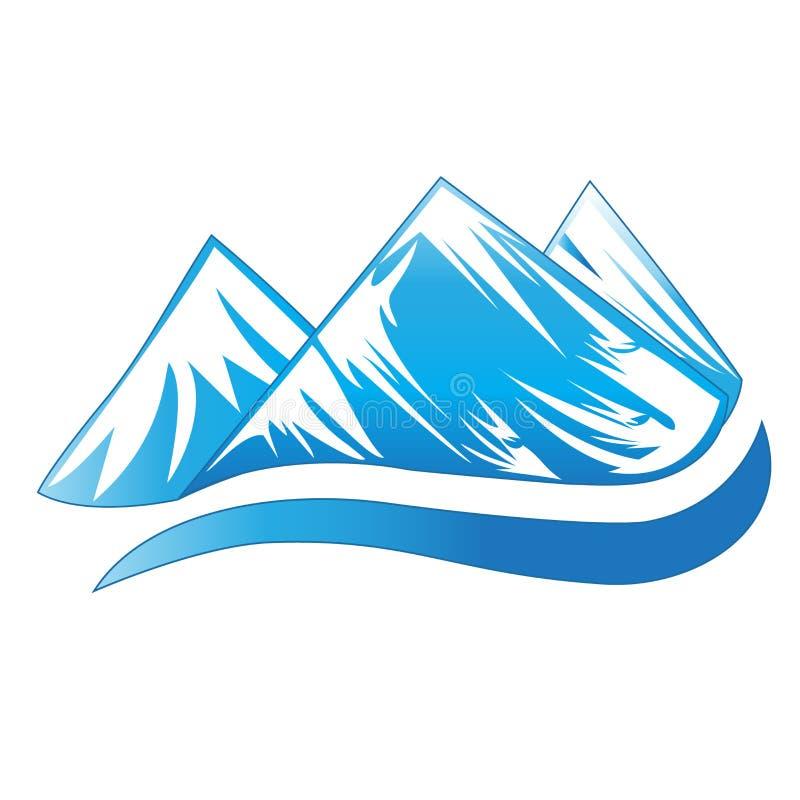 Carte d'identité bleue d'icône de vecteur d'image de montagnes de logo illustration stock
