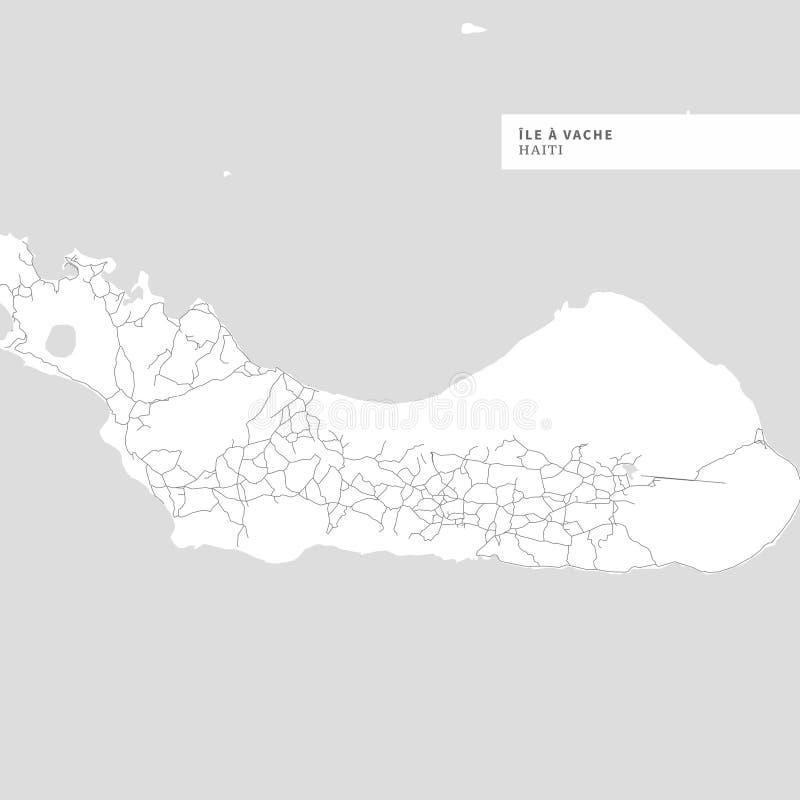 Carte d'Ile une île de Vache illustration de vecteur
