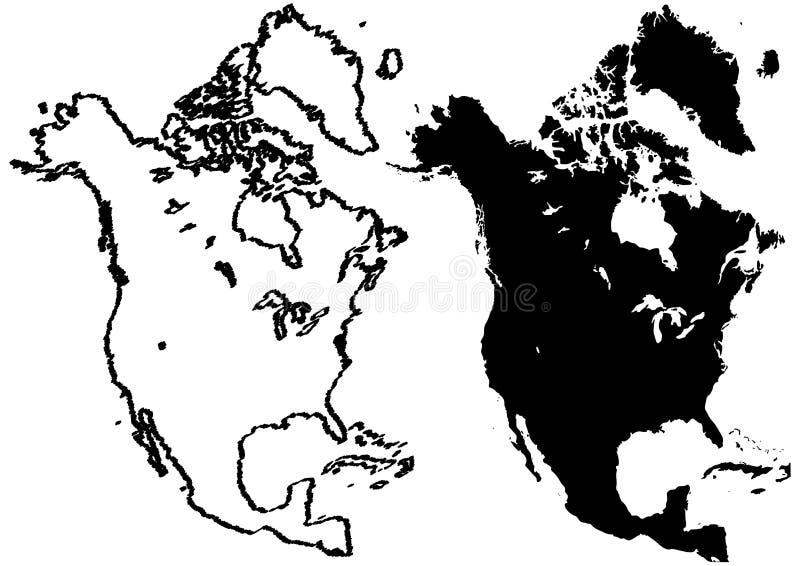 carte d'illustration de l'Amérique du nord illustration stock