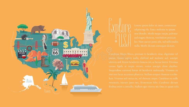 Carte d'illustration de vecteur des Etats-Unis, conception illustration stock