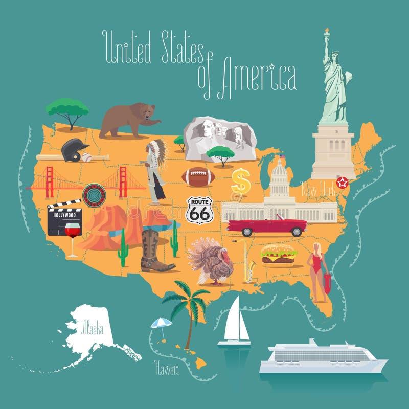 Carte d'illustration de vecteur de l'Amérique, conception illustration de vecteur