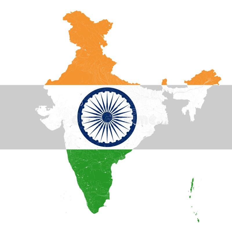Carte d'Inde avec des rivières et des lacs en couleurs du fla national illustration stock