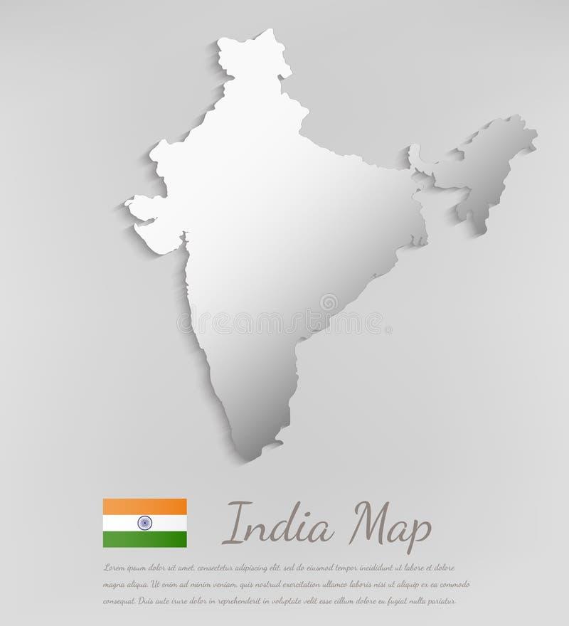Carte d'Inde avec l'effet d'ombre Vecteur illustration de vecteur