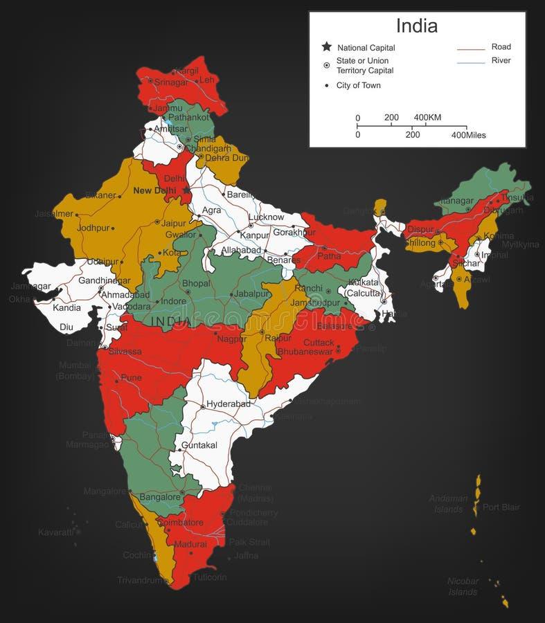 Carte d'Inde avec les territoires sélectionnables Vecteur illustration libre de droits