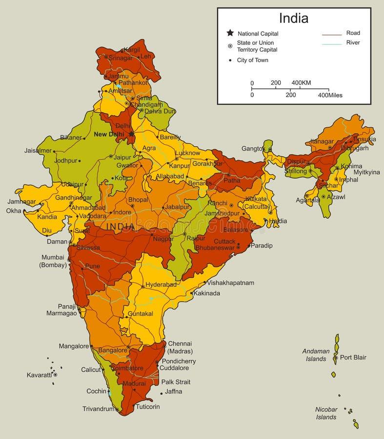 Carte d'Inde avec les territoires sélectionnables Vecteur illustration de vecteur