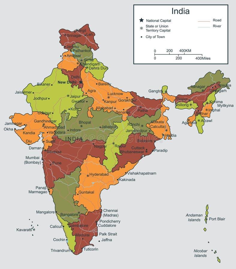 Carte d'Inde avec les territoires sélectionnables Vecteur illustration stock