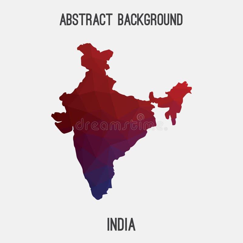 Carte d'Inde dans polygonal géométrique, style de mosaïque illustration libre de droits