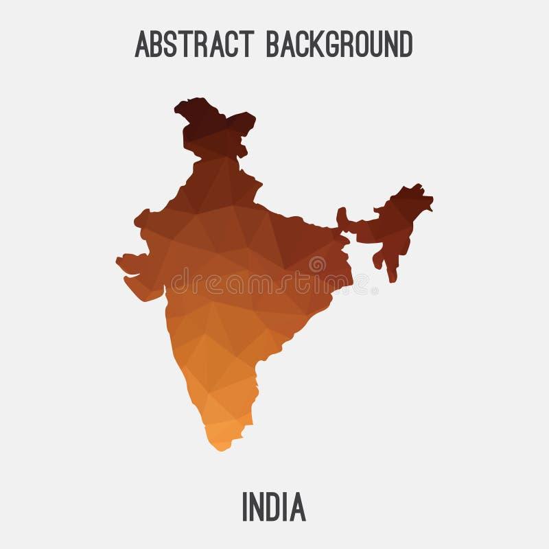 Carte d'Inde dans polygonal géométrique, style de mosaïque illustration stock