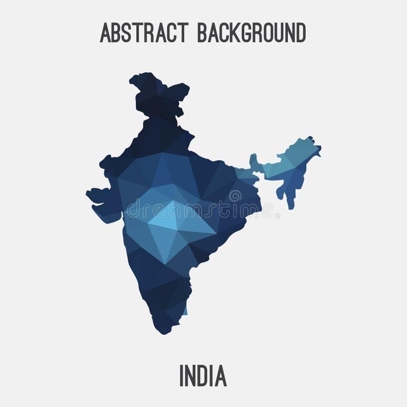 Carte d'Inde dans polygonal géométrique, style de mosaïque illustration de vecteur