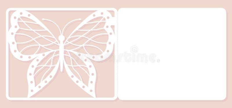Carte d'invitation, épousant la décoration, élément de conception Coupe élégante de laser de papillon Illustration de vecteur illustration libre de droits