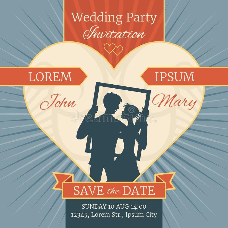 Carte d'invitation d'amour de mariage avec les couples heureux dans le cadre Descripteur de vecteur illustration libre de droits