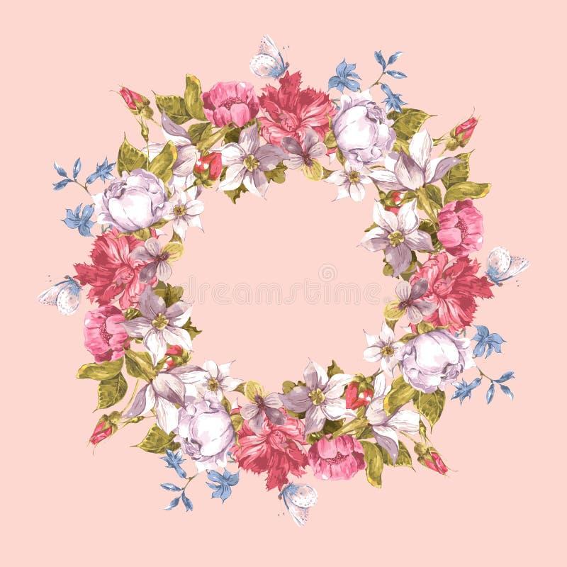Carte d'invitation avec la guirlande florale illustration de vecteur