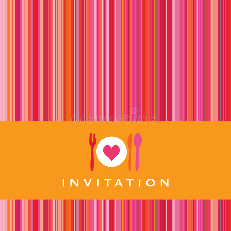 Carte d'invitation avec la silhouette de couverts illustration libre de droits