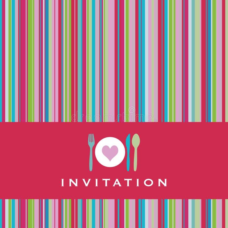 Carte d'invitation avec la silhouette de couverts illustration stock