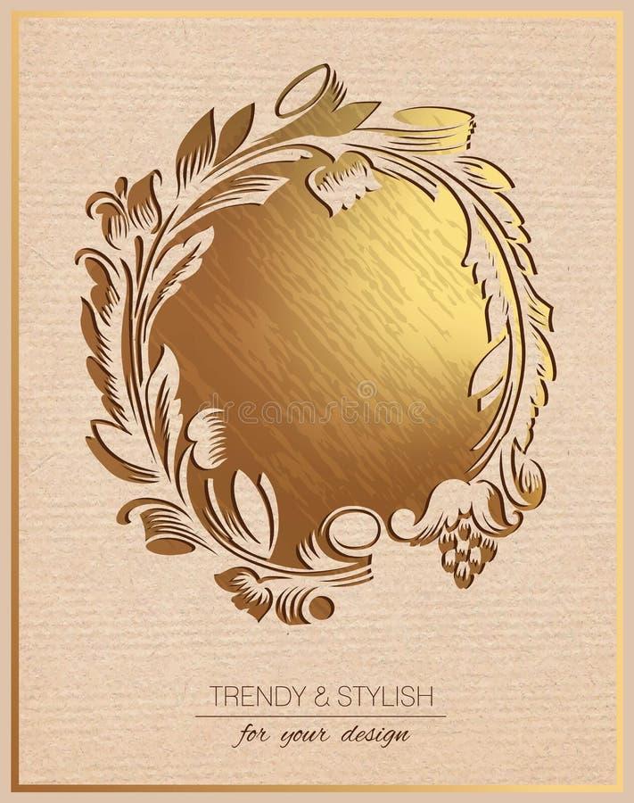 Carte d'invitation avec le cadre floral d'or illustration stock