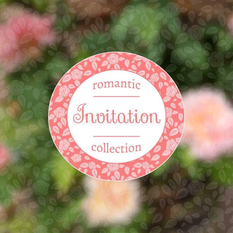 Carte d'invitation avec les roses roses ENV, JPG illustration stock