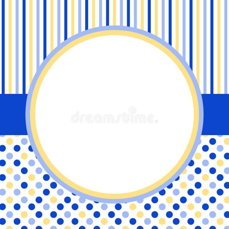 Carte d'invitation avec un cadre de cercle et des points de polka illustration stock