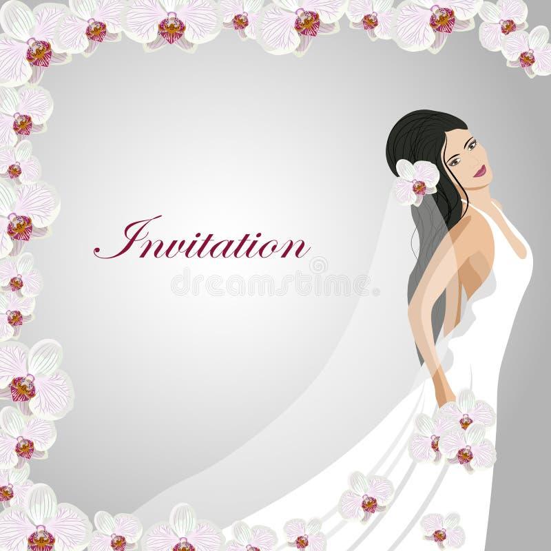 Carte d'invitation avec une belle jeune mariée illustration libre de droits