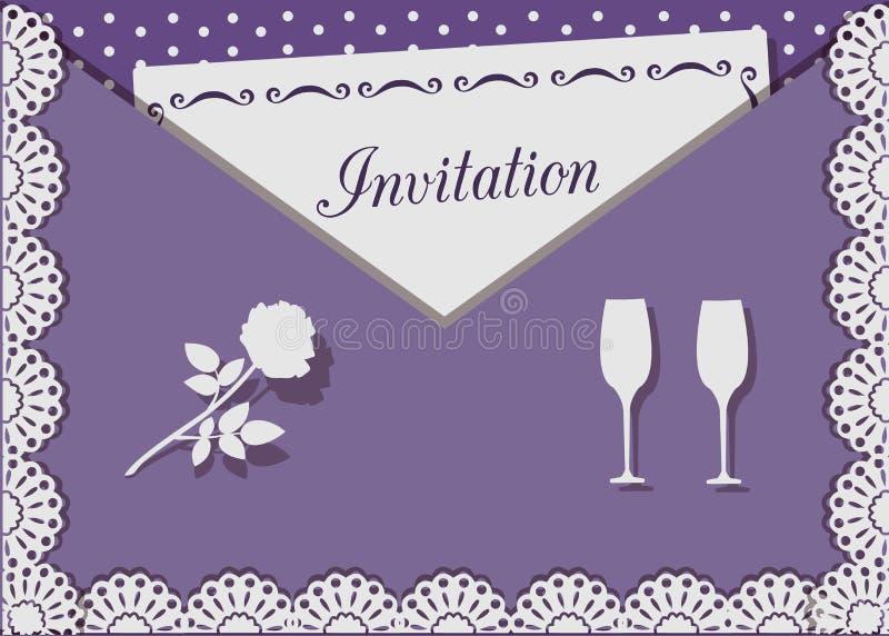 Carte d'invitation décorée de la dentelle sur le fond des points de polka illustration de vecteur