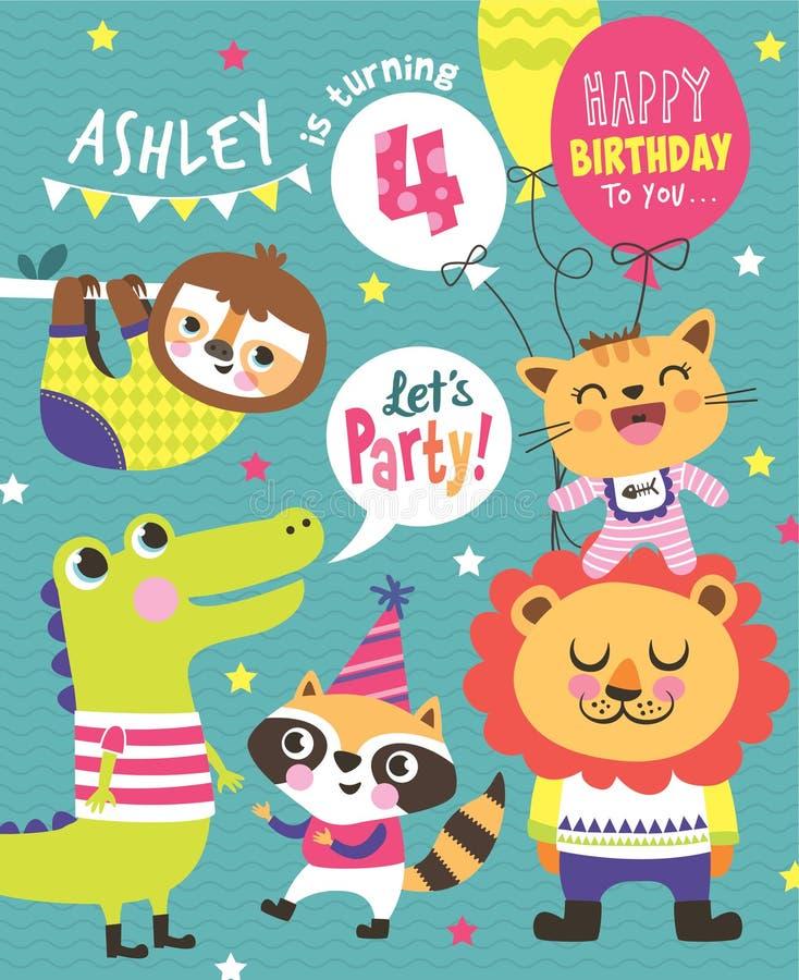 Carte d'invitation d'anniversaire illustration libre de droits