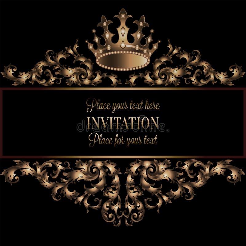 Carte d'invitation d'or de vintage avec le fond noir, diviseur, en-tête, cadre de dentelle ornemental de vecteur, décoration roya illustration libre de droits
