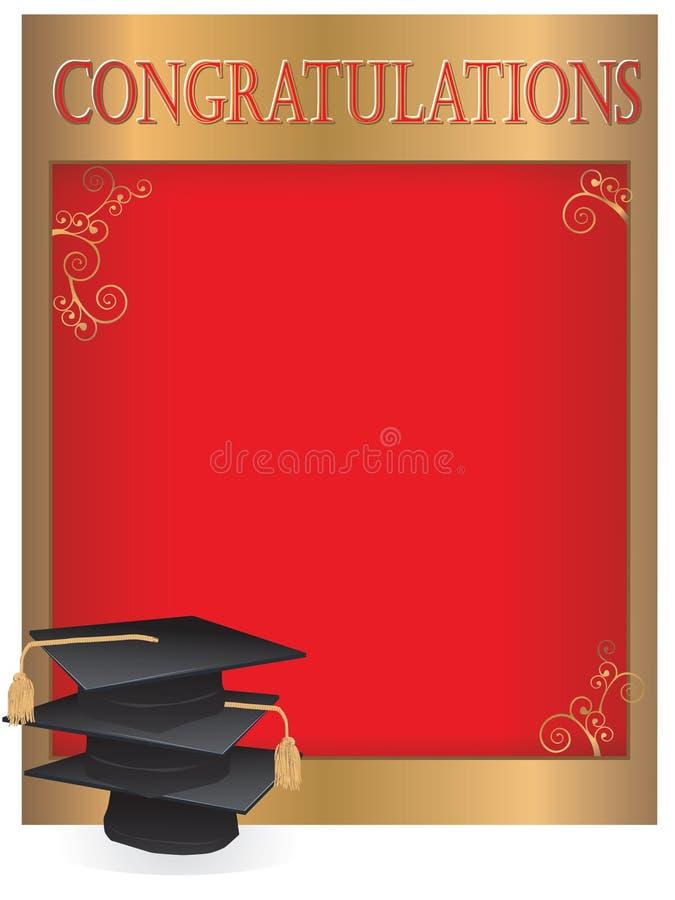 Carte d'invitation d'obtention du diplôme avec des mortiers illustration stock