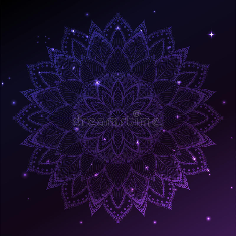 Carte d'invitation d'ornement avec le mandala Élément géométrique de cercle fait dans le vecteur illustration de vecteur
