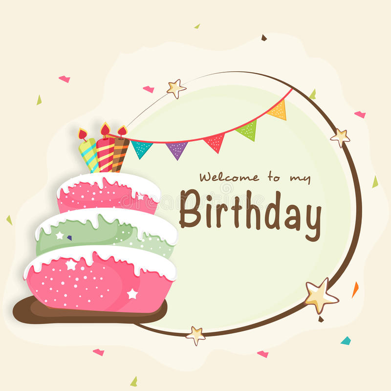 Carte d'invitation de célébration de joyeux anniversaire illustration stock
