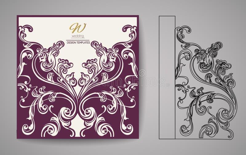 Carte d'invitation de coupe de laser Modèle de coupe de laser pour la carte de mariage d'invitation Vecteur illustration de vecteur
