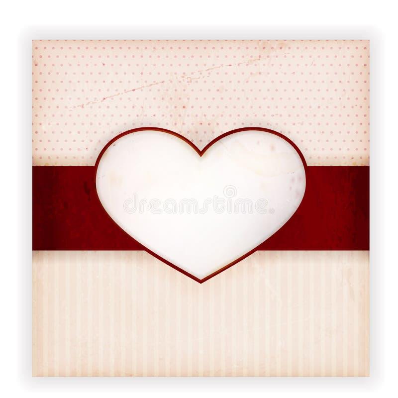 Carte d'invitation de cru avec l'étiquette de coeur illustration de vecteur