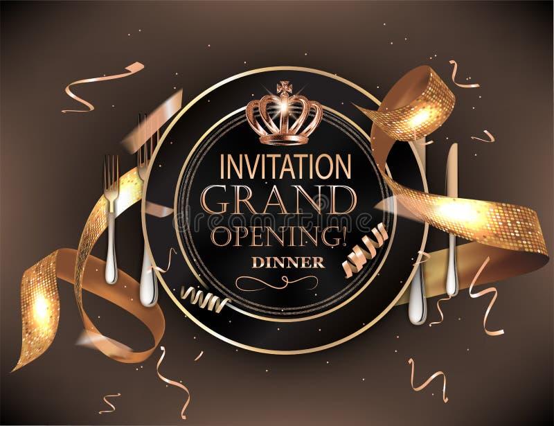 Carte d'invitation de dîner d'ouverture officielle avec les confettis, le plat et les couverts froids illustration de vecteur