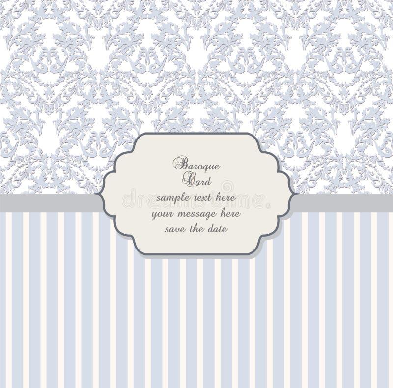 Carte d'invitation de dentelle de damassé avec l'ornement floral illustration de vecteur