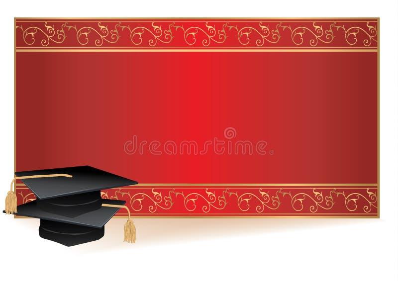 Carte d'invitation de graduation avec des mortiers illustration stock