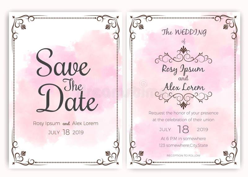 Carte d'invitation de mariage, carte d'étiquettes de cadeau illustration de vecteur