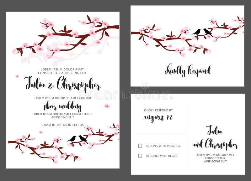 Carte d'invitation de mariage avec des branches et des oiseaux de fleur illustration de vecteur