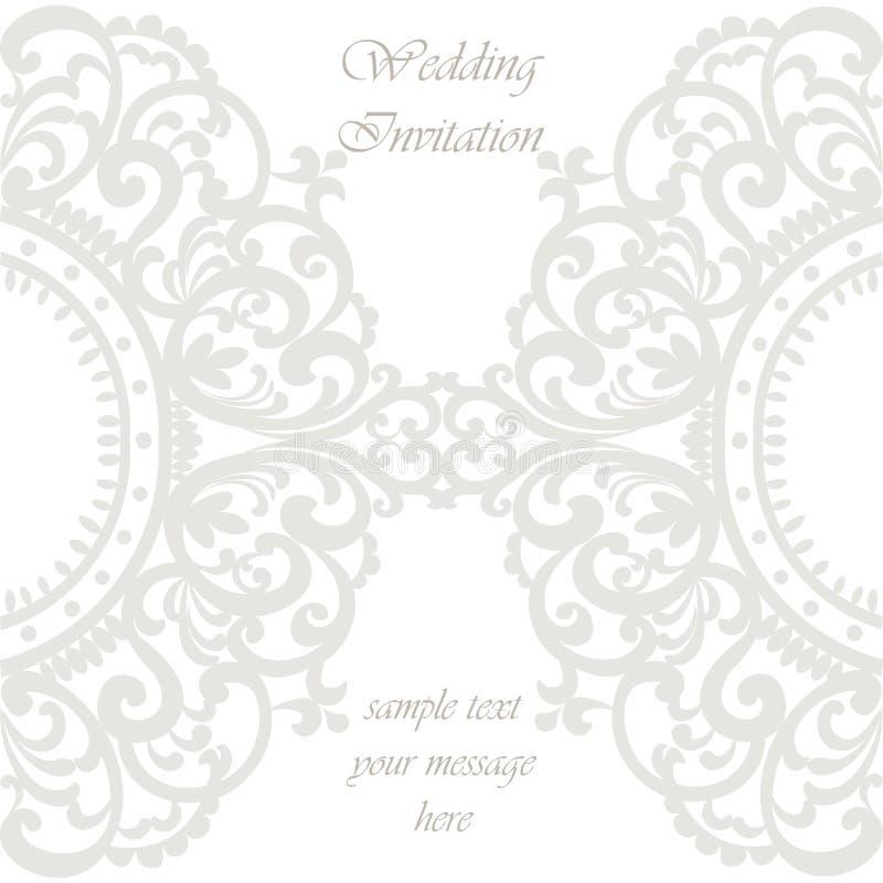 Carte d'invitation de mariage avec l'ornement de dentelle illustration stock
